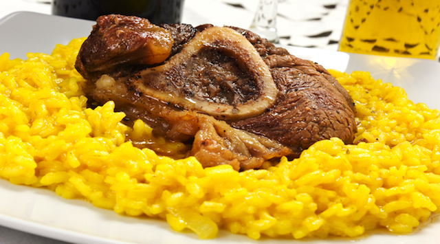 osso buco bivine meat with rice with saffron