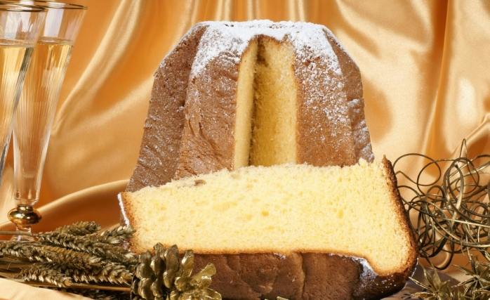 Christmas composition with Pandoro and spumante